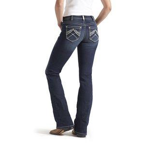 R.E.A.L Mid Rise Stretch Whipstitch Boot Cut Jean